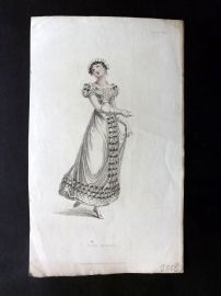 Ackermann 1823 Antique Regency Fashion Plate. Ball Dress